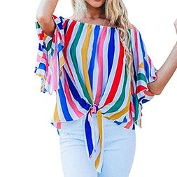 Malbaba Off Shoulder T-Shirts,Women Striped Waist Tie Short