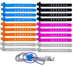 Ceeyali Silicone Reusable Fastening Cable Strap Wire Organiz