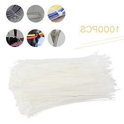 Newsmarts 1000 White Nylon Cable Ties, 8 Inch Zips Ties