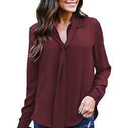 Trendinao Women's Solid Long Sleeved V-Neck Casual Tie Chiff