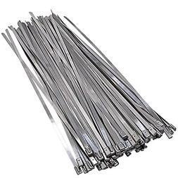 100 Pcs Stainless Steel Cable Ties, Bantoye 0.2 x 11.8 Inch