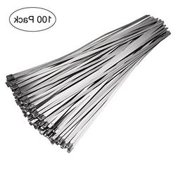 OUNONA 100pcs 4.6mm x 300mm Stainless Steel Cable Zip Ties E