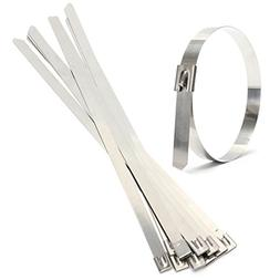 """SODIAL 10 pcs 0.39"""" x 15.75"""" Stainless Steel Metal Cable Zip"""