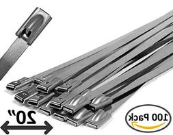 """20"""" Stainless Steel Cable Ties - 100 pieces"""