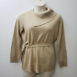 Jaclyn Smith Sweater Sz Large Gold Sparkle Rolled Collar Tie