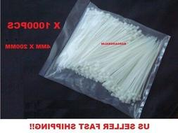 """T04 1000 PCS Pack 12"""" inch White Network Cable Cord Wire Zip"""