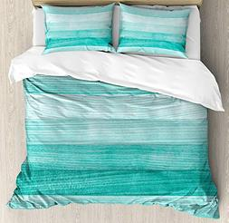 WAZZIT Teal Decor 4 Piece Duvet Cover Set Queen Painted Wood