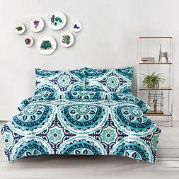 Wake In Cloud - Teal Duvet Cover Set, Turquoise Bohemian Boh