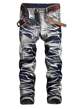 Men's Fashion Tie-dyed Slim Fit Jeans Faded Blue 32