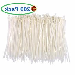 Upgrade Heavy Duty 200 Pcs White Clear Cable Ties 8 Inch, Pr
