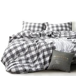 Wake In Cloud - Washed Cotton Duvet Cover Set, Buffalo Check
