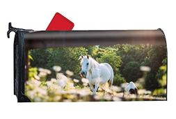 DREES White Horse Mailbox Cover Rust-Proof Mail Box Covers