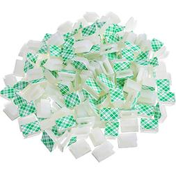 Hicarer 200 Pieces White Wire Adhesive Cable Clips Car Cable