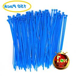 Wide Ocean Sea Blue Cable Ties 8 Inch 150 Pack Strong Heavy