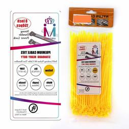 Wide 8 Inch 150 Pack Strong Yellow Color Heavy Duty Cable Zi