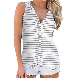 Rambling Women's Button Down Loose Fit Casual Tops Sleeveles
