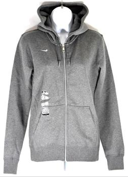 Nike Women's Fitted Gray Zip up Sweatshirt Hoodie W/ Drawstr