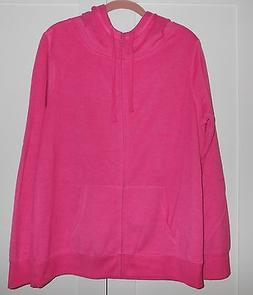 WOMEN'S OLD NAVY PINK  ZIP-UP HOODIE WITH DRAWSTRING TIES -