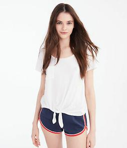 aeropostale womens seriously soft tie-front pocket tee***