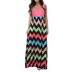 PeiZe Womens Striped Long Boho Dress Lady Beach Summer Sundr