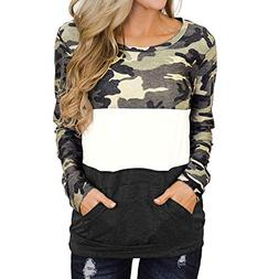 TIANRUN WWomens Casual Long Sleeve Camouflage Colorblock Pul