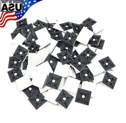 "Zip Cable Tie Adhesive Mounting Base Pad 1"" 100pc Made in US"