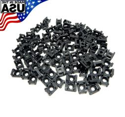 Zip Cable Tie Screw Mount Base UV Black 100pc Set #4 #6 #8 #