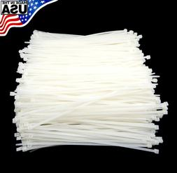 "Zip Cable Ties 8"" 40lbs 1000pc Natural White Made in USA Nyl"