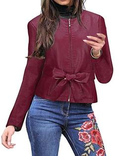 Suncolor8 Womens Full Zip Solid Bow Tie Fall Winter Faux Pu
