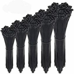 Zip Ties, 500 Pcs Adjustable Durable Self Locking Black Nylo