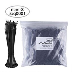 Zip Ties  Self-Locking 8 Inch Nylon Cable Ties in Black