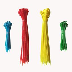 Zip Ties, 200 Pcs in Four Colors  and Two Sizes ; Nylon Cabl