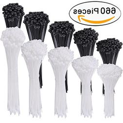 AUSTOR 660 Pieces Zip Ties White and Black Cable Zip Ties He